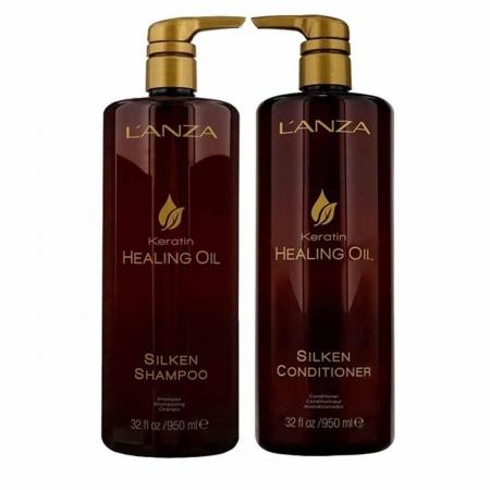 Kit Lanza Keratin Healing Oil Sh1 Litro e Cond 1 Litro