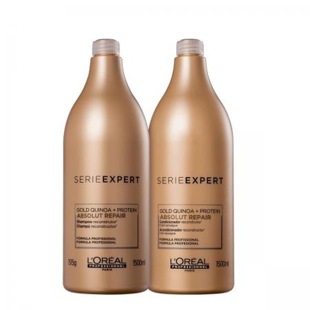 Kit Loreal Gold Quinoa Absolut Repair Shampoo 1,5L e Cond.1,5L