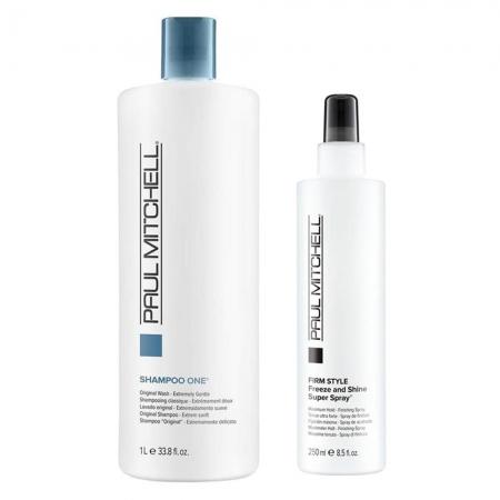Kit Paul Mitchell Sh. One 1L e Firm Style Freeze Shine Spray 250ml