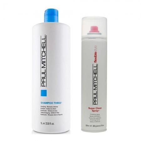 Kit Paul Mitchell Shampoo Three 1l e Flexible Style Super Clean 315ml