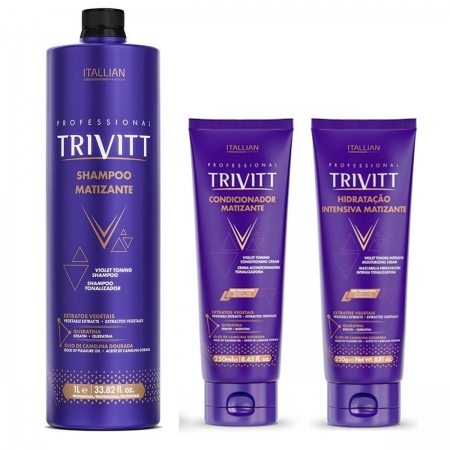 Kit Trivitt Shampoo Matizante 1Litro CondMat.250gr e Másc250gr