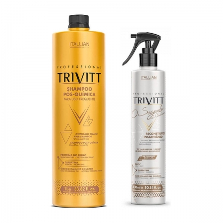 Kit Trivitt Shampoo Pos Química 1 Litro  Leave In Segredo Do Cabel.300