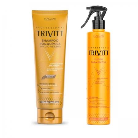 Kit Trivitt Shampoo Pós Quimica 280ml + Fluído Para Escova 300ml