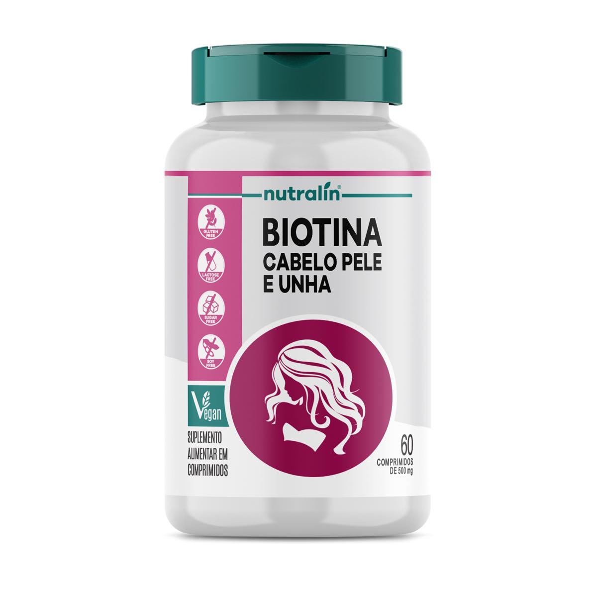 Biotina Cabelo Pele e Unha Suplemento Nutralin 60 Caps. 500mg
