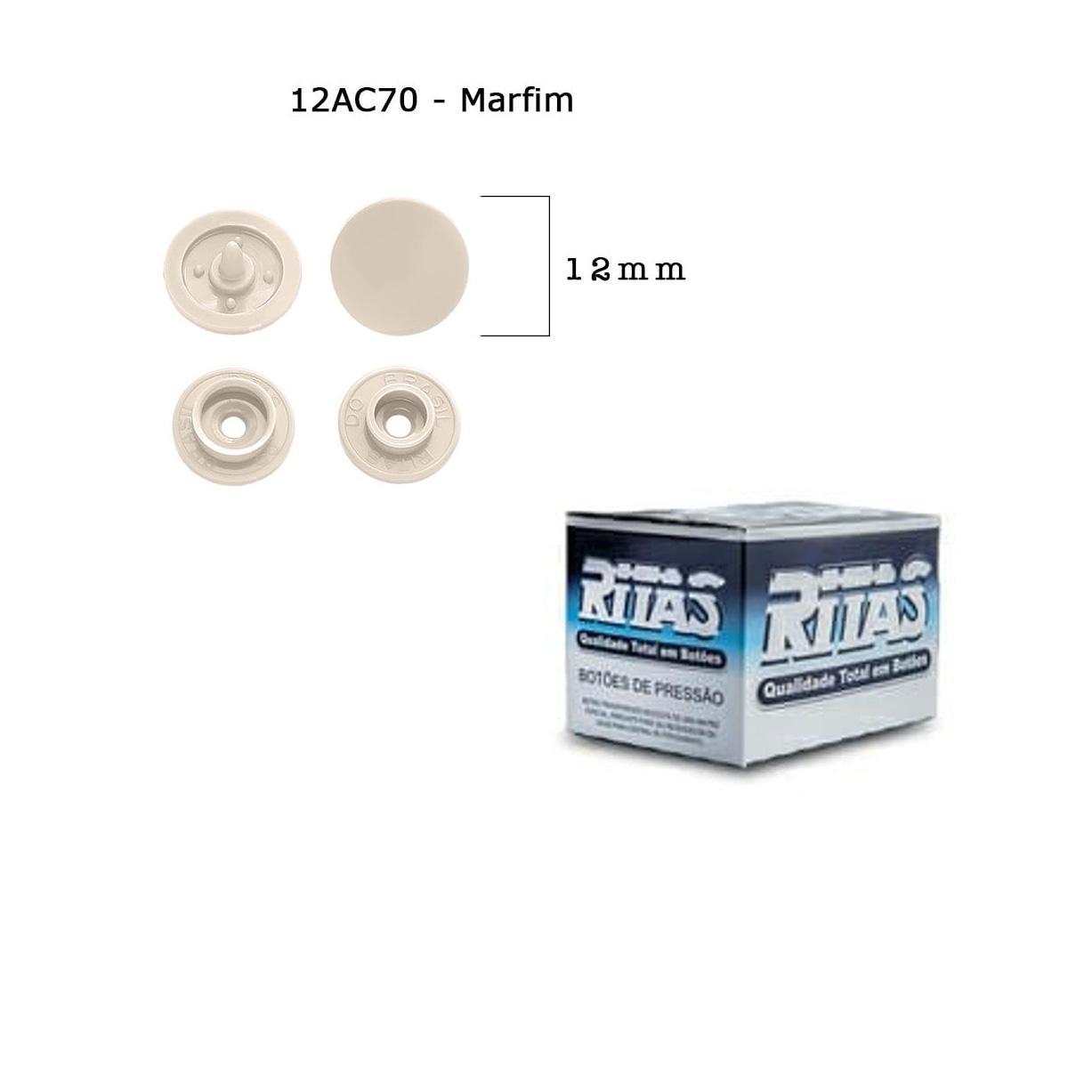 Botão De Pressão Plastico Ritas,com 200 botões . Nº 12 Marfim