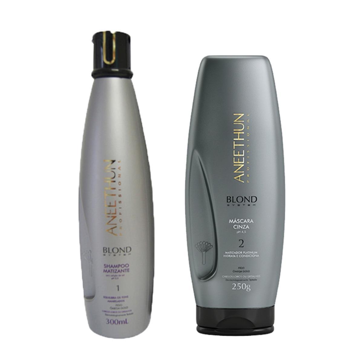 Kit Aneethun Blond Matizante Shampoo 300ml e Máscara Cinza 250gr
