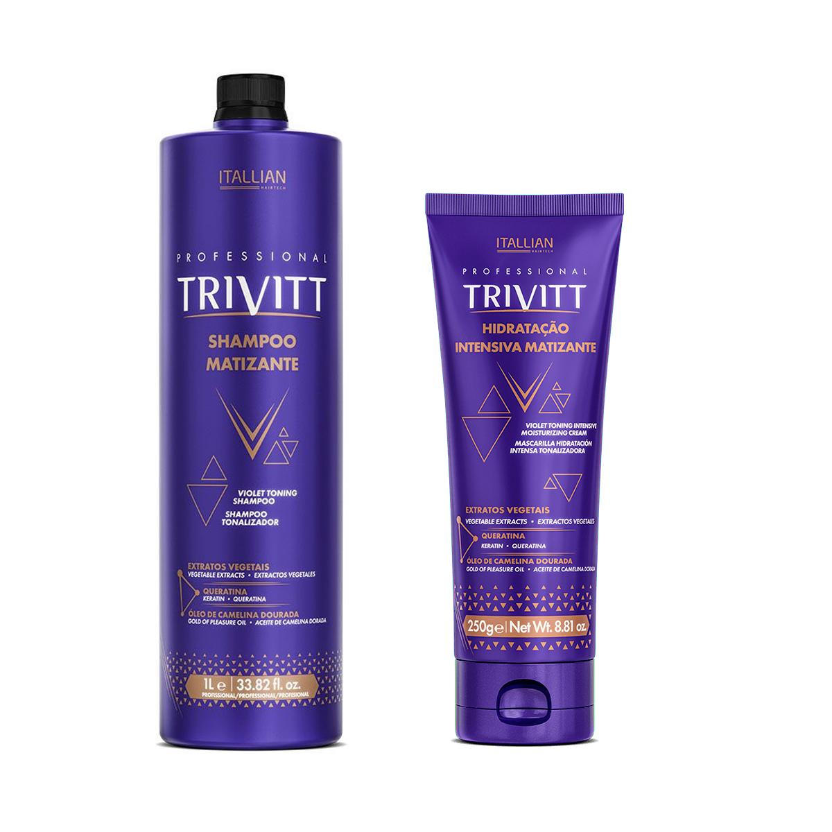 Kit Trivitt Matizante Shampoo 1L e Máscara Matizante 250gr