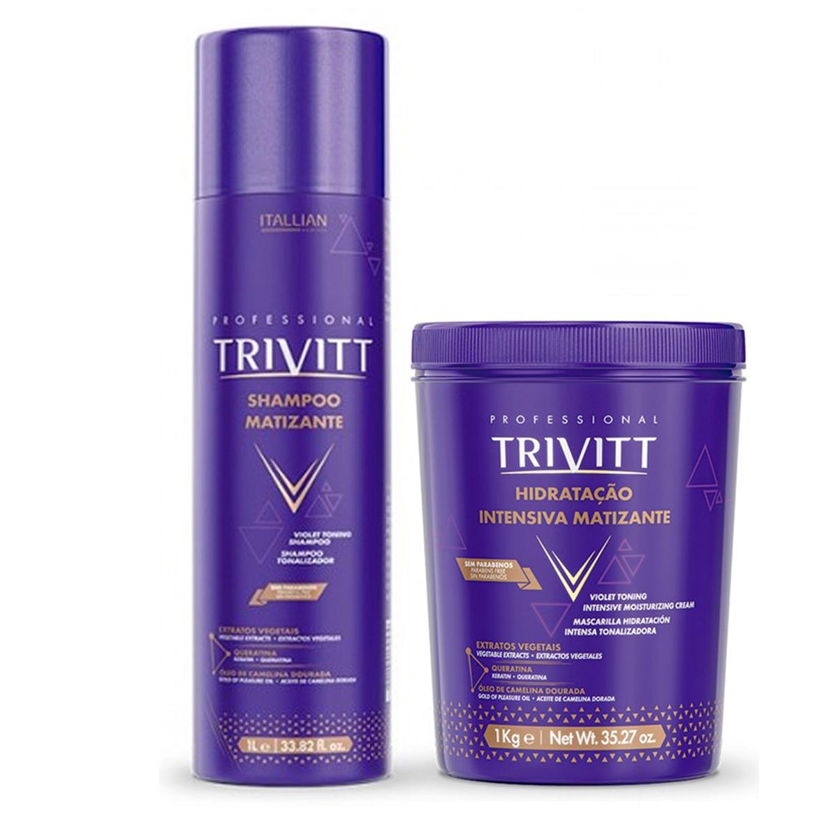 Kit Trivitt Matizante Shampoo 1Litro e Máscara Matizante 1 Litro