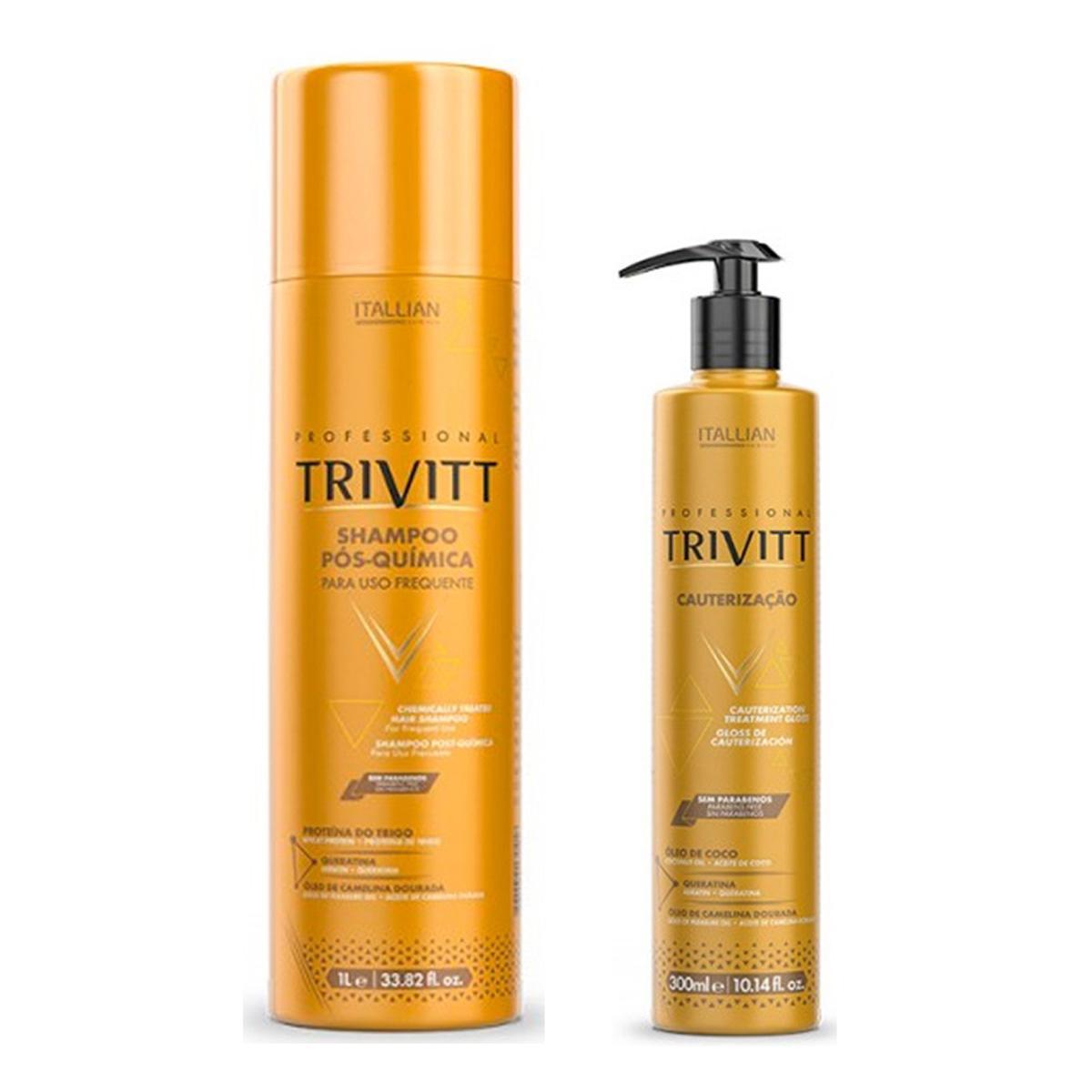 Kit Trivitt Shampoo Pós Quimica 1 Litro + Cauterização 300ml