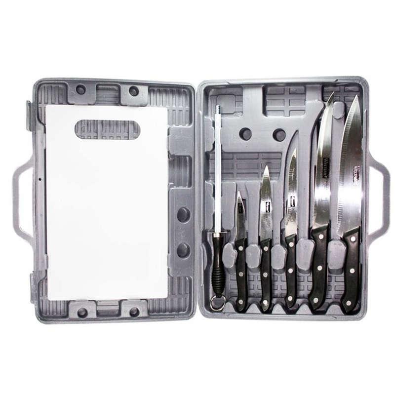 Kit para Churrasco de Facas Amolador e Tábua de Corte 7 Peças em Maleta para Transporte - Western - N-27