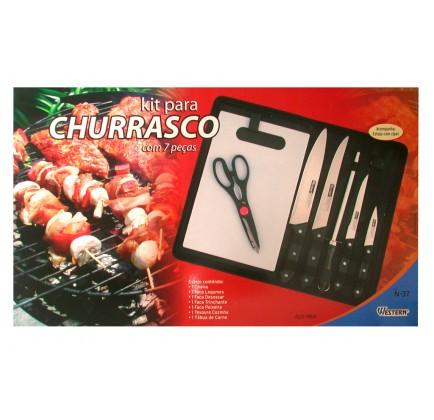 Kit para Churrasco com Facas Amolador e Tábua de Carne em Estojo com Zíper - 7 peças - Western - N-37
