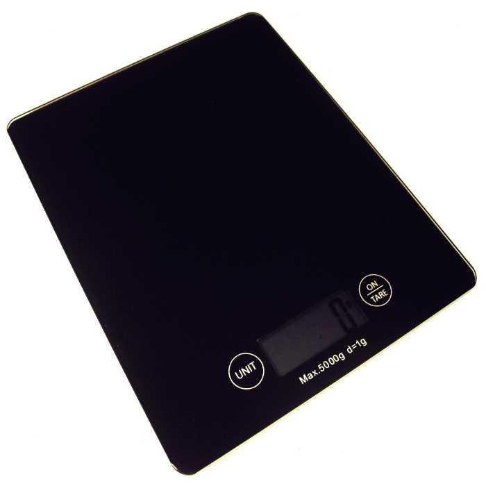 Balança para Cozinha Digital em Vidro Retangular Preta 5Kg KE-6