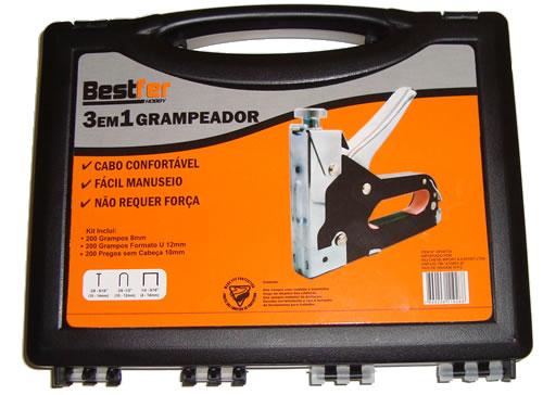 Grampeador e Pinador 3 em 1 Para Tapeceiro com 600 Grampos e Pregos - Bestfer - BFH0133