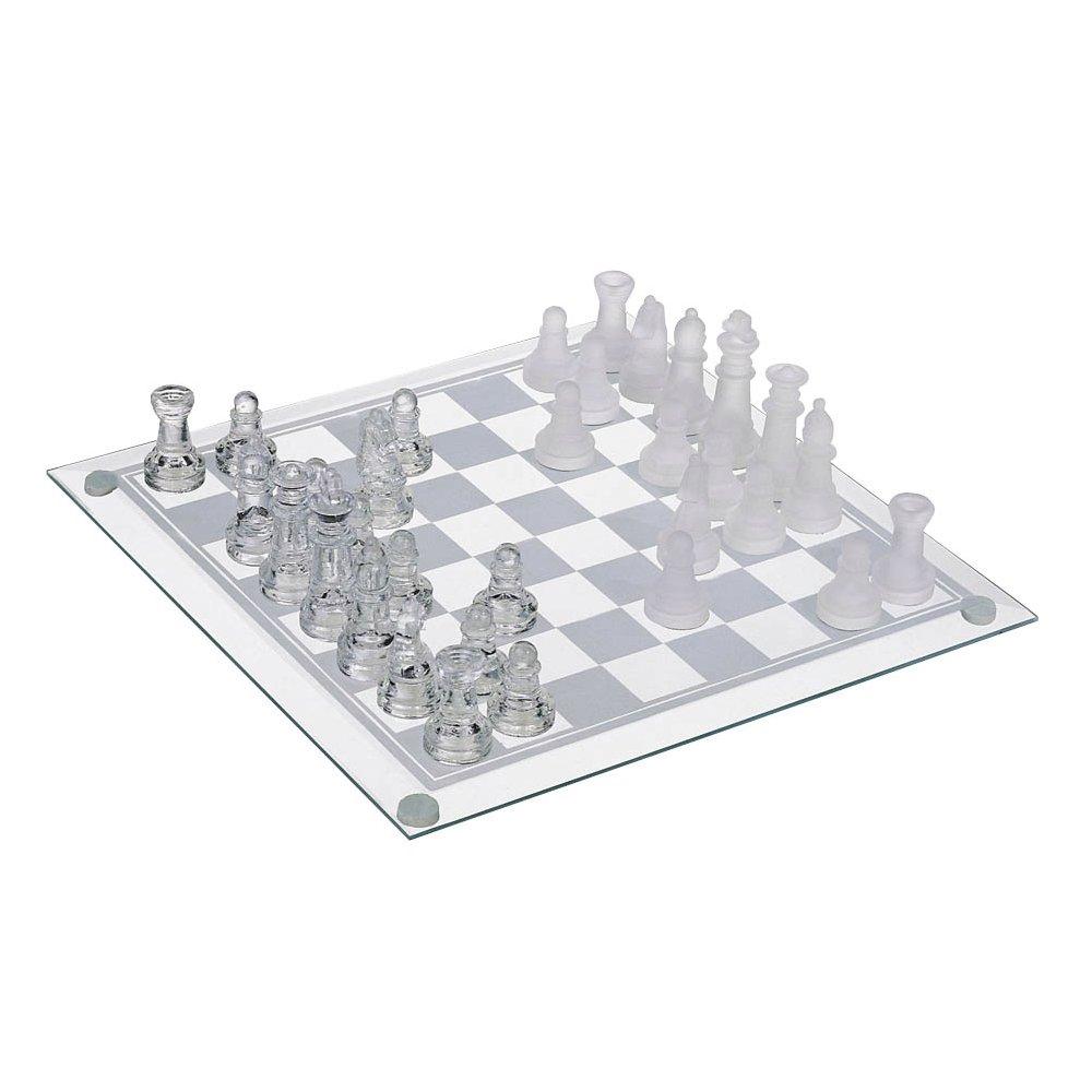 Jogo Tabuleiro de Xadrez em Vidro Transparente x Jateado 19x19cm Art Game