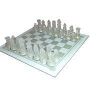 Jogo Tabuleiro de Xadrez em Vidro - Transparente x Jateado - 35x35cm