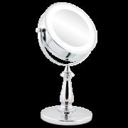 Espelho com Iluminação Luz de LED Duplo com Aumento 5x e Normal com Pedestal Cromado JM905
