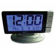 Relógio de Mesa Digital Com Sensor Dígitos Grandes e Despertador Data Hora Prata SC0715