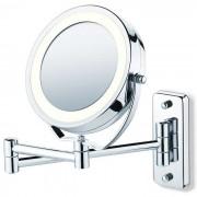 Espelho Articulado Cromado Duplo Com Aumento de 5X Iluminado Com Luz de Led Fashion Beauty JM315