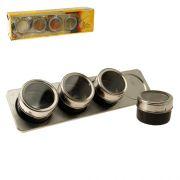 Porta Condimentos 4 Potes em Aço Inox / Preto Imantado Art House BS119-XC297