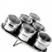 Porta Condimentos 6 Potes em Aço Inox com Imã na Base e Suporte Triangular Wellmix WX3881