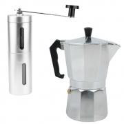 Cafeteira Italiana 6 Xícaras de Alumínio + Moedor de Café Manual de Manivela KITCAFE002