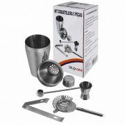 Kit Coqueteleira Inox 5 Peças Descascador Dosador PInça e Misturador Uny Home 893671KIT
