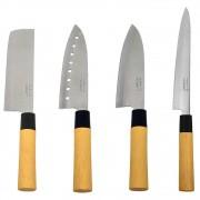 Kit Faca Sushi Sashimi Tipo Japonesa Santoku Peixe 8 e Cutelo 7 KITHAUFACJAP006