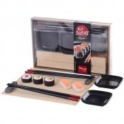 Kit Sushi 7 Peças com Hashi Molheira Suporte e Enrolador de Sushi Wincy CED05013