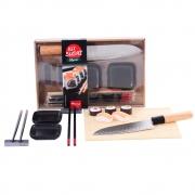Kit Sushi 8 Peças com Hashi Molheira Suporte Faca Santoku e Enrolador de Sushi Wincy CED05015