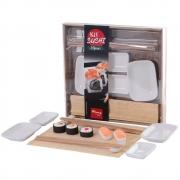 Kit Sushi 9 Peças com Hashi Molheira Suporte e Enrolador de Sushi Wincy CED05014