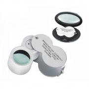 Lupa de Mão 40x 25mm Portátil Dobrável com LED e UV Detector de Notas 9888