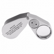 Lupa de Mão 40x Portátil Dobrável com LED e UV de Metal 9890