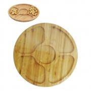 Petisqueira de Bambu Redonda 20cm 5 Divisórias FWB 96838