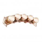 Porta Condimentos 5 Potes de Vidro Rose Gold Wellmix WX4303