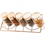 Porta Condimentos 5 Potes de Vidro Rose Gold Wellmix WX4305
