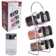 Porta Condimentos 6 Potes de Vidro para Temperos Cromado Wincy VDA04041