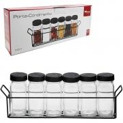 Porta Condimentos 6 Potes de Vidro Preto Wincy VDA06037