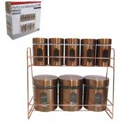 Porta Condimentos 8 Potes de Vidro Rose Gold TRC8309