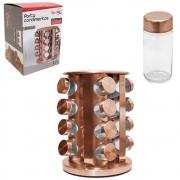Porta Condimentos Torre Giratório 16 Potes de Vidro Rose Gold TRC8416