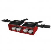 Raclete para Queijo Vermelha com 2 Panelas de Derreter Queijo Haüskraft CJFN-017
