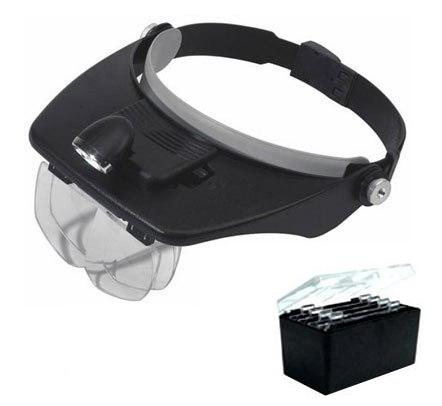 Lupa de Cabeça com Iluminação Luz de 3 LEDs com 4 Lentes Tipo Pala Vuemax-Pro