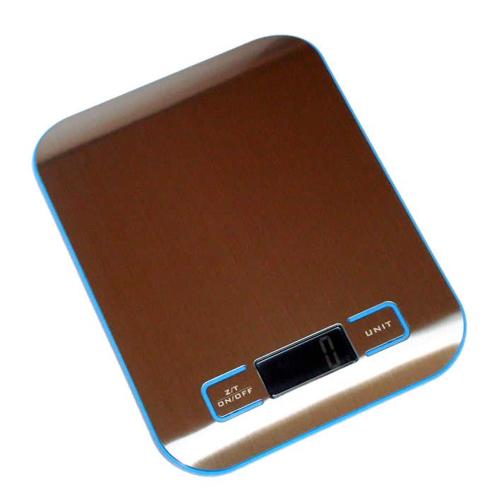 Balança Digital para Cozinha com Bandeja de Aço Azul SF2012