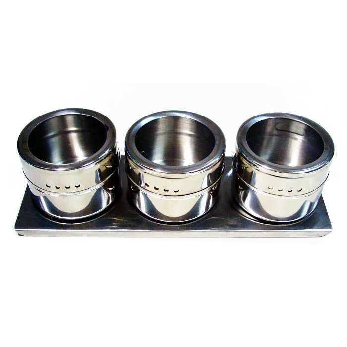 Porta Condimentos 3 Potes em Aço Inox com Imã na Base e Suporte FWB 90878