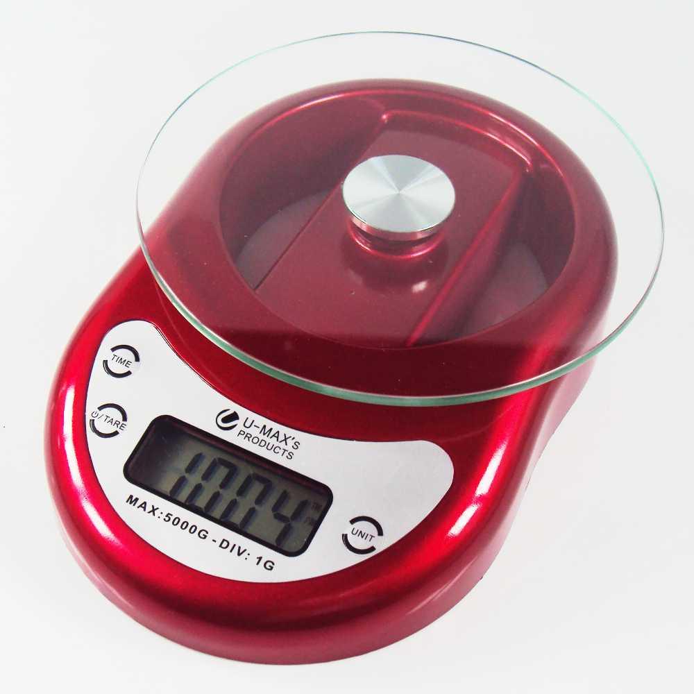 Balança de Cozinha com Bandeja em Vidro com Relógio Digital Capacidade 5Kg Divisão de 1g Vermelha EK-1