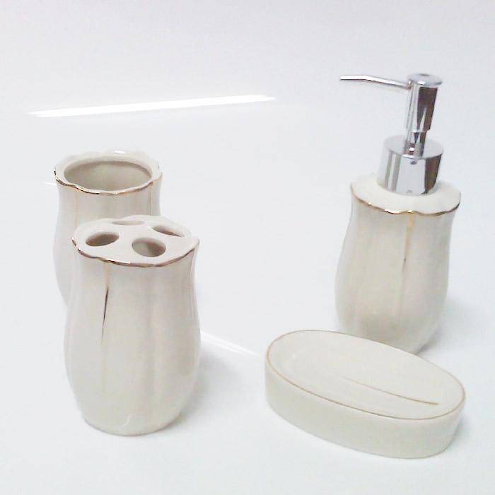 Kit para Banheiro em Porcelana 4 Peças Saboneteira, Porta Escovas, Copo JRB13 -> Comprar Kit De Pia De Banheiro