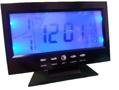 Relógio de Mesa Digital com Despertador, Temperatura, Calendário e Luz Preto 8082