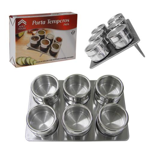 Porta Condimentos 6 Potes em Aço Inox com Imã na Base e Suporte Zein BS120-XC259