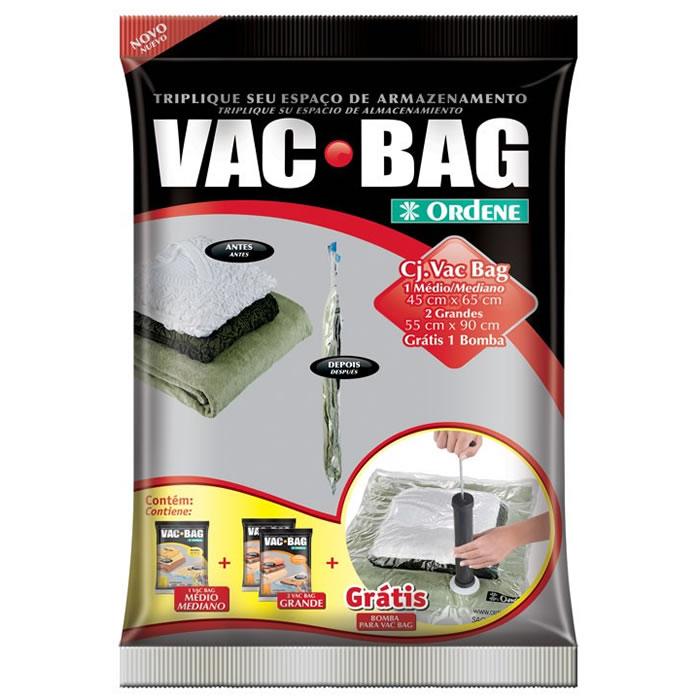 Kit Sacos a Vácuo Vac Bag 2 Grandes 1 Médio e 1 Bomba Sacos Para Armazenamento de Roupas Ordene OR56200
