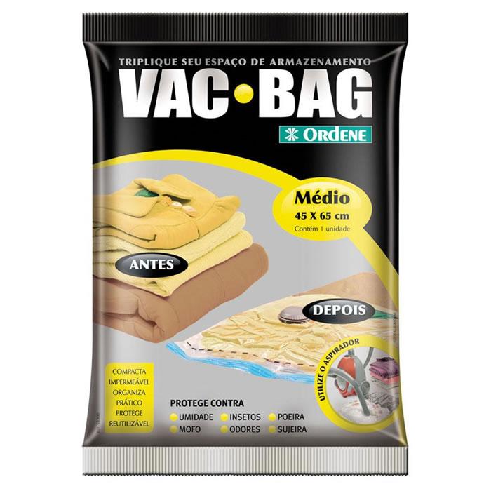 Saco a Vácuo Para Roupas Vac Bag Médio 45cm x 65cm Ordene OR55200