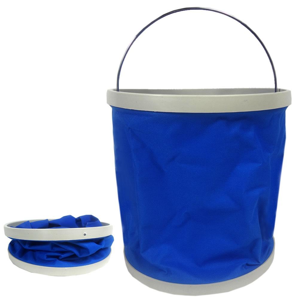 Balde Dobrável 11 Litros para Pesca e Camping Azul Western CP-950